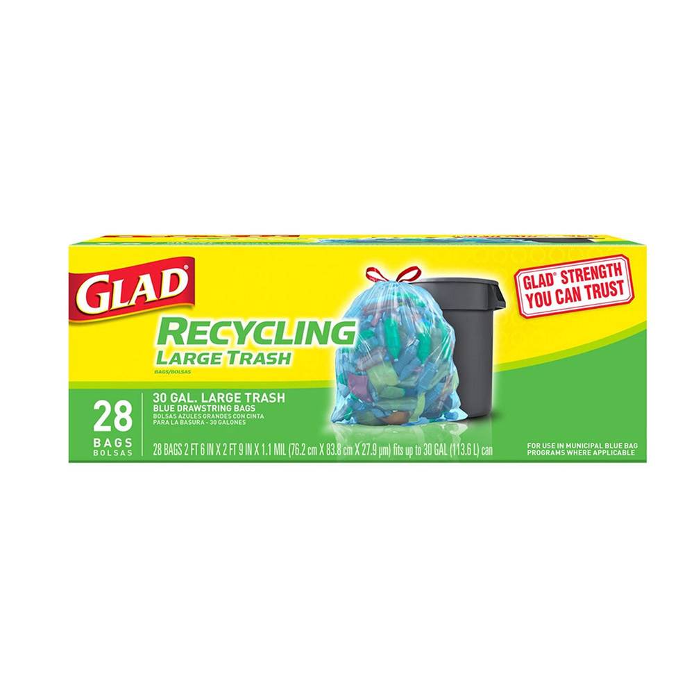 The Clorox Sales Company Blue 30 Gallon Recycling Large Glad Trash Bag 78544