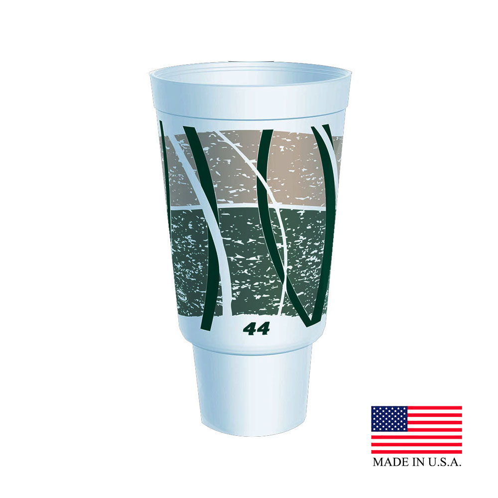 Dart White & Green 44oz Impulse Foam Hot Cup 44AJ32E