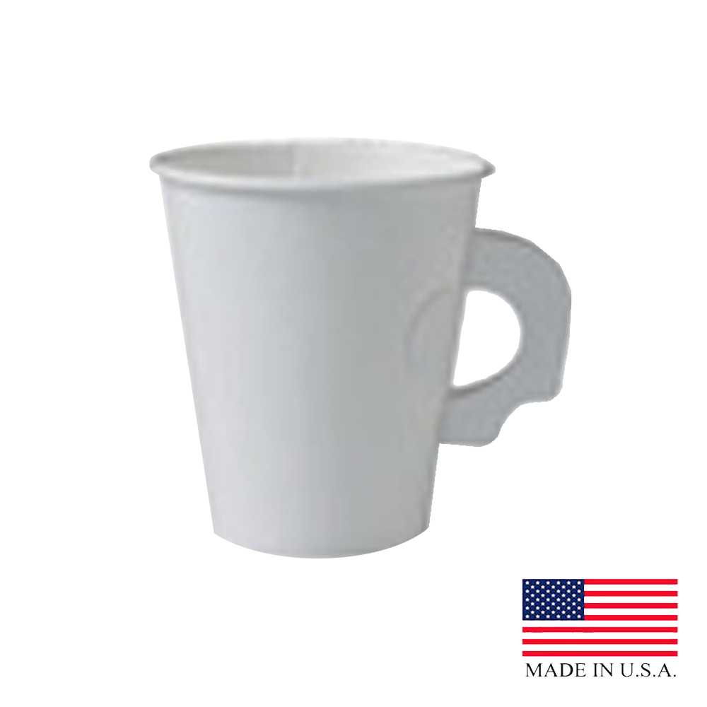 Solo White 8oz Single Poly Paper Hot Cup With Handle 378HW-2050