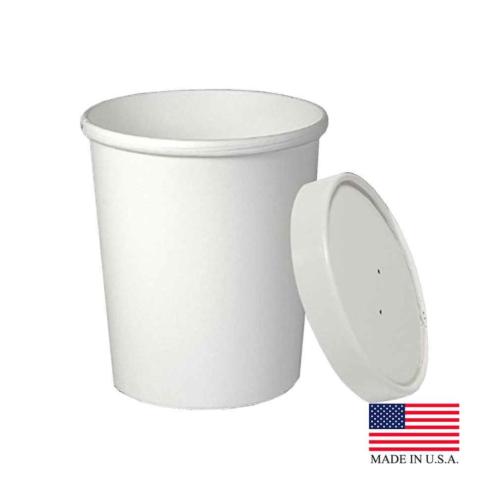 Solo White 32oz Flex Style Double Poly Container With Lid KHB32A-2050