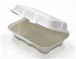 "Pactiv Cream 9""x6"" Hinged Fiber Blend Container YMCH0089"