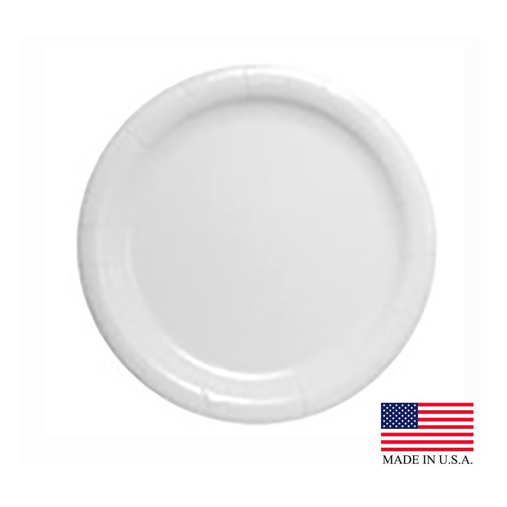 "Solo White 9"" Eco Forward Heavy Weight Clay Coated Paper Plate HP9S-2050"