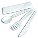 Asean White Compostable Knife, Fork, Spoon And Napkin Meal Kit CPLA-005