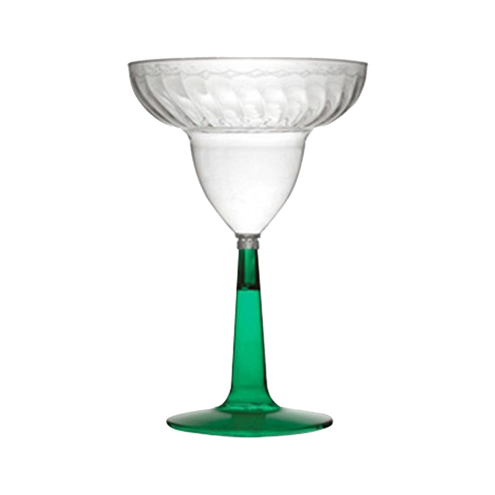Fineline Settings Clear 12oz Flair Ware Margarita Glass With Green Base 2312-GRN