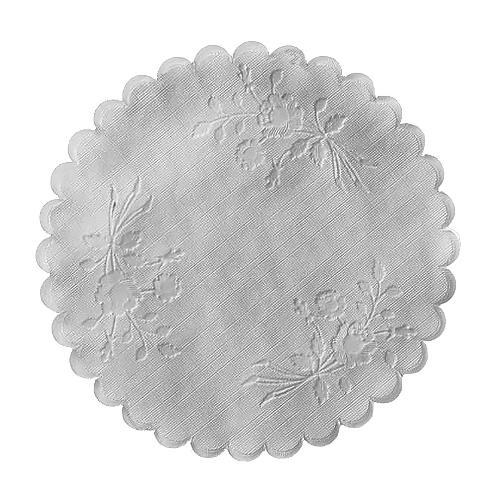 "Hoffmaster White 5"" Round Linen Doily Rose Embossing DL05SP"