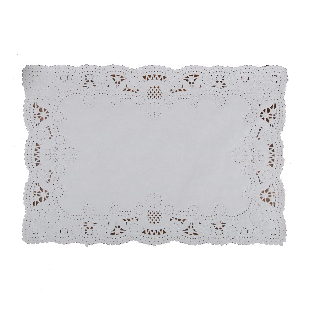 "Hoffmaster White 10""x14"" Normandy Lace Placemat 310711"