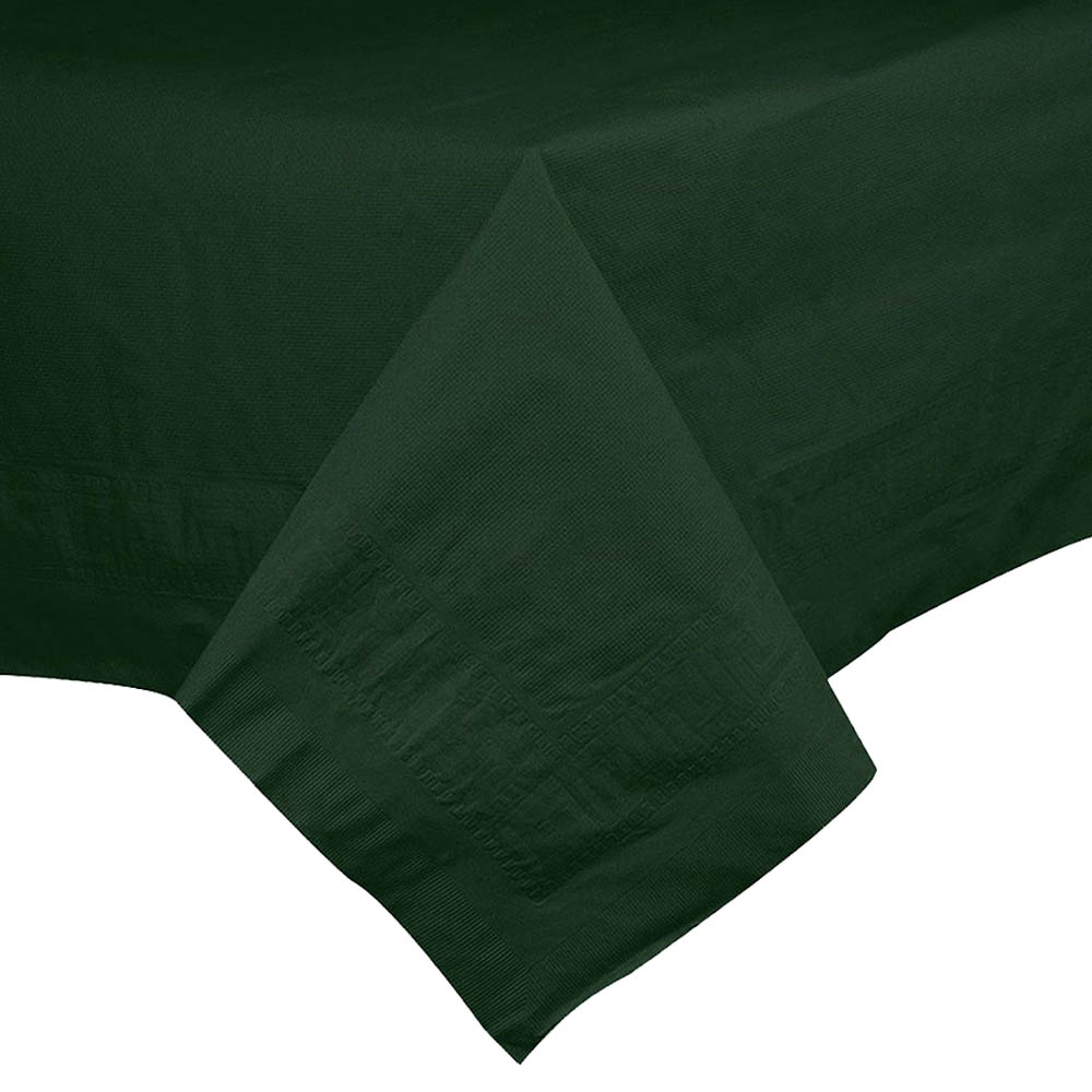 "Hoffmaster Hunter Green 54""x54"" Table Cover 220437"