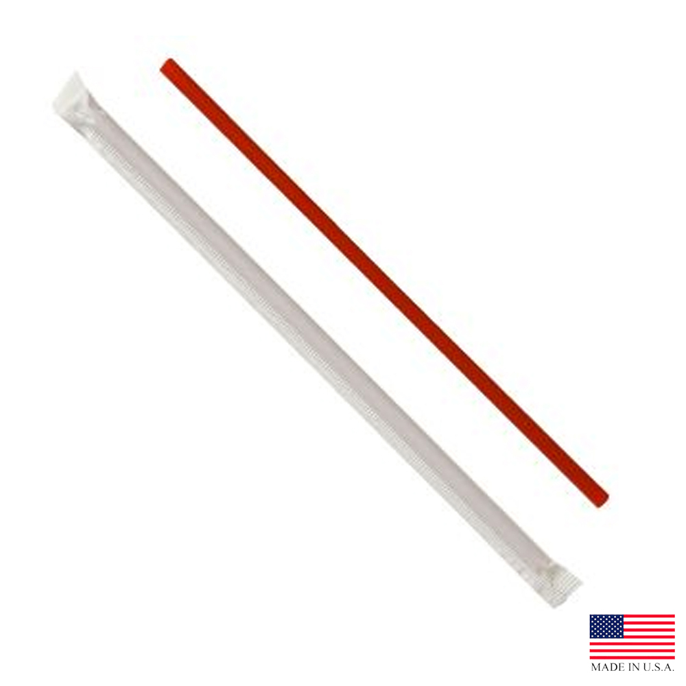 "Solo Red 10.25"" Giant Wrapped Paper Soda Straw 834RX-2050"