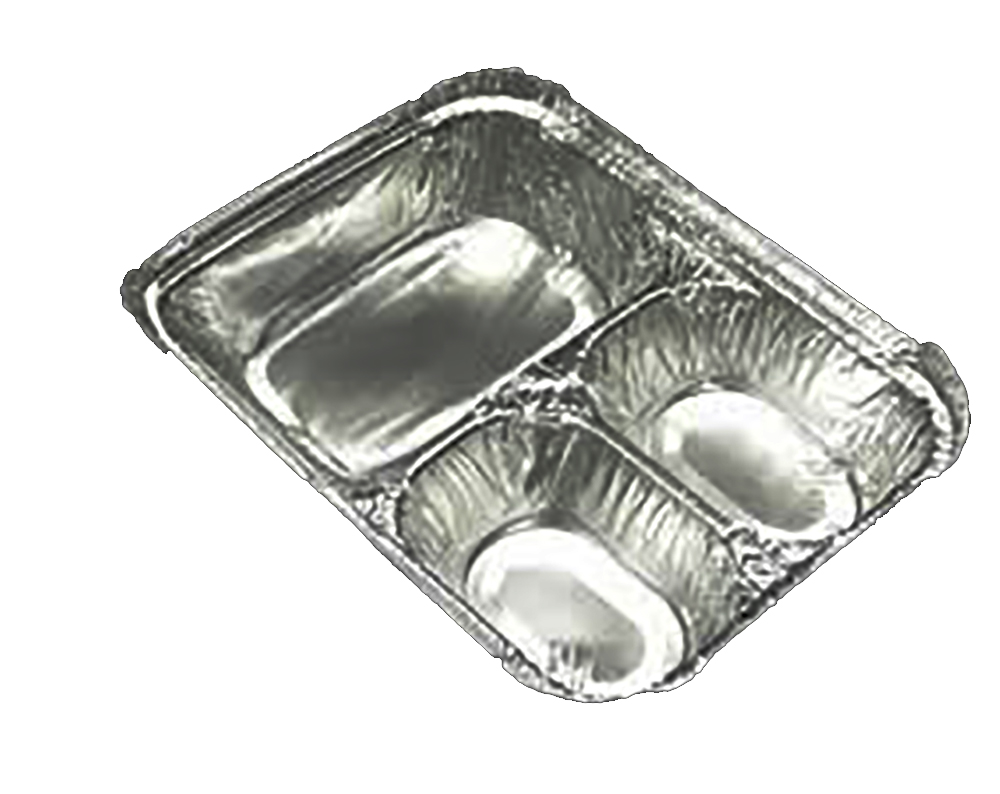 Durable 3 Compartment Aluminum Oblong Pan 2103050X