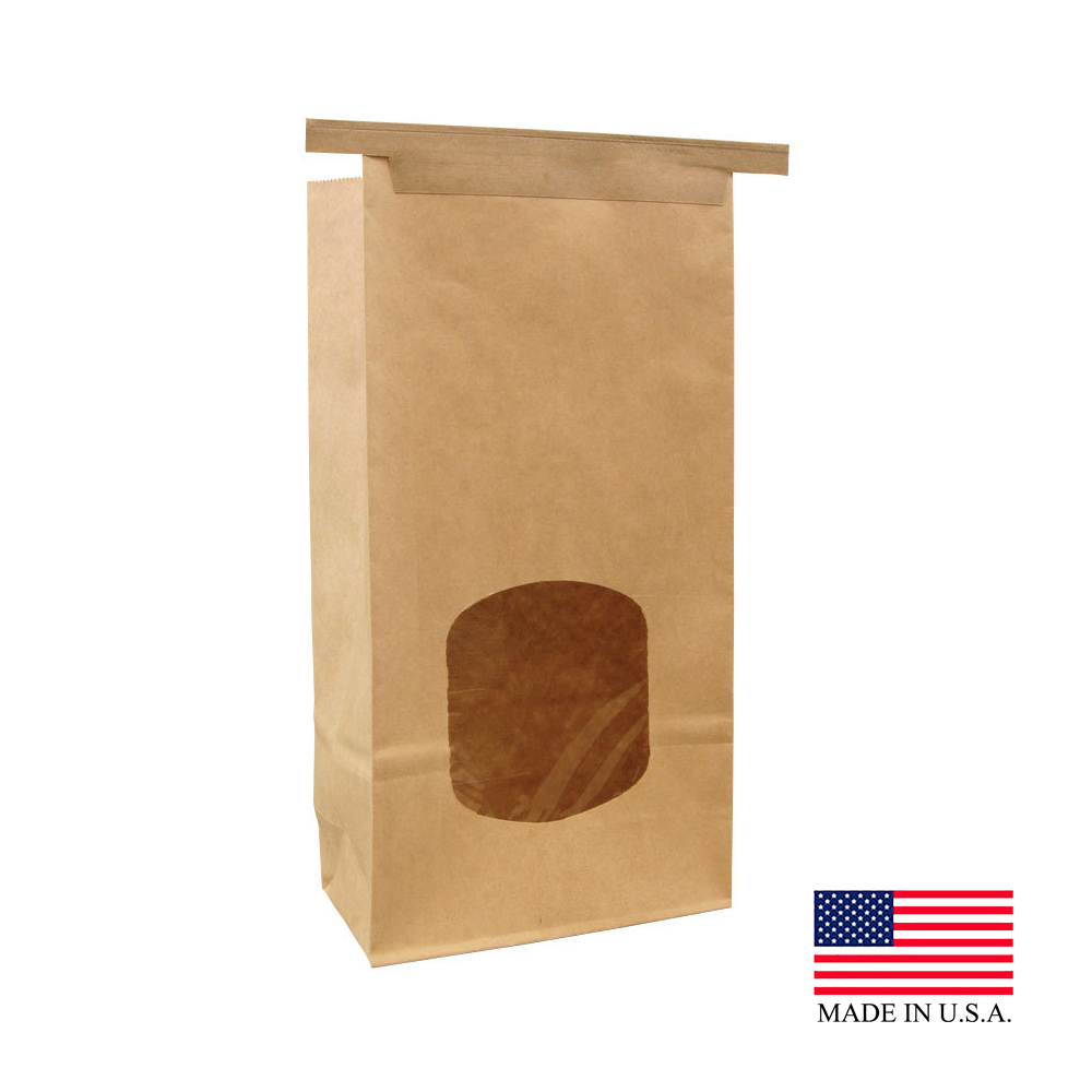 "Bagcraft Natural 1lb 4-34""x2-1/2"" Stand Up Paper Window Bags 300249"