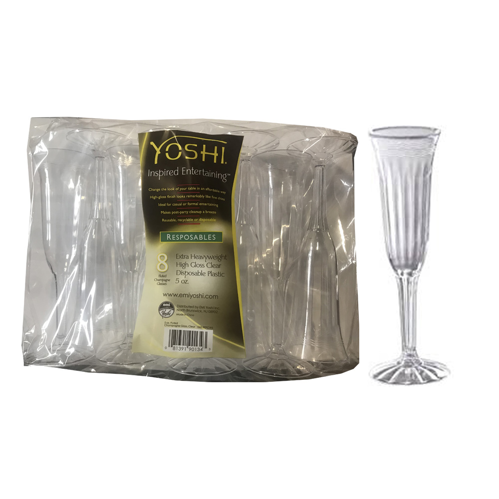 EMI Yoshi Inc. - Resposables Clear 5 oz. Fluted   Plastic Champagne Glass EMI-REFC1P5