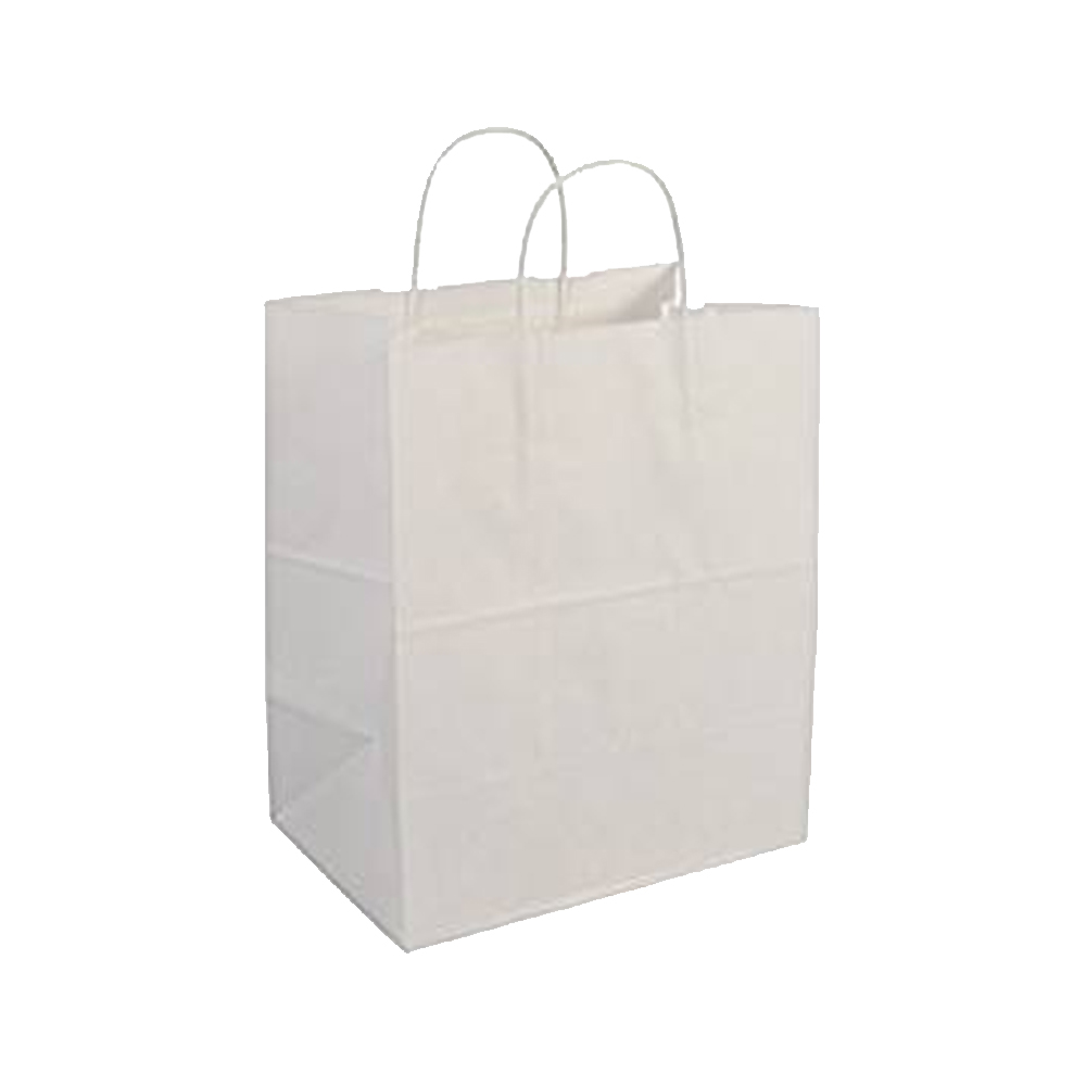 "Duro Bag White 10""x6.75""x12"" Bistro Paper ShoppingBag 88206"