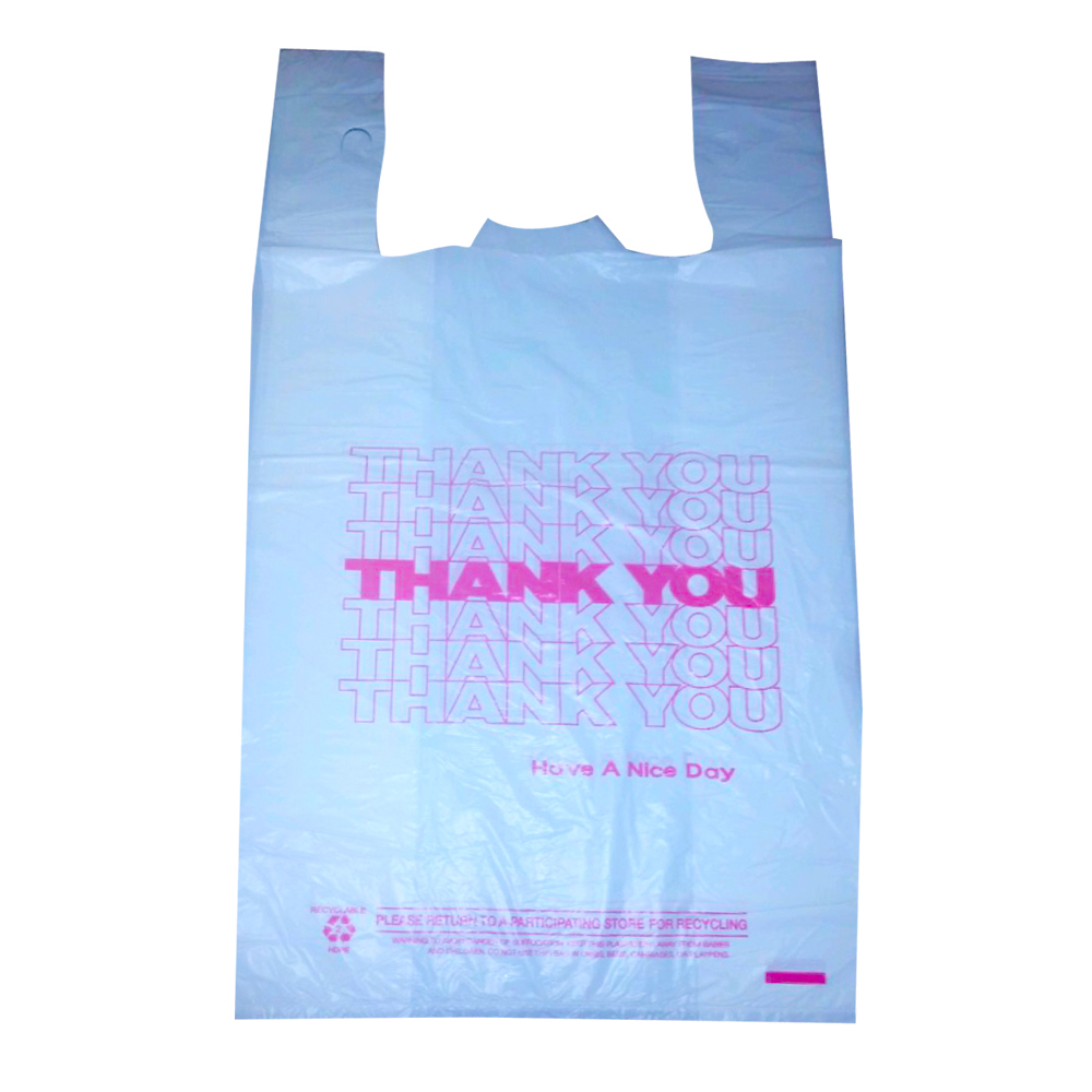 White Printed Thank You T-shirt Bag 11-10442