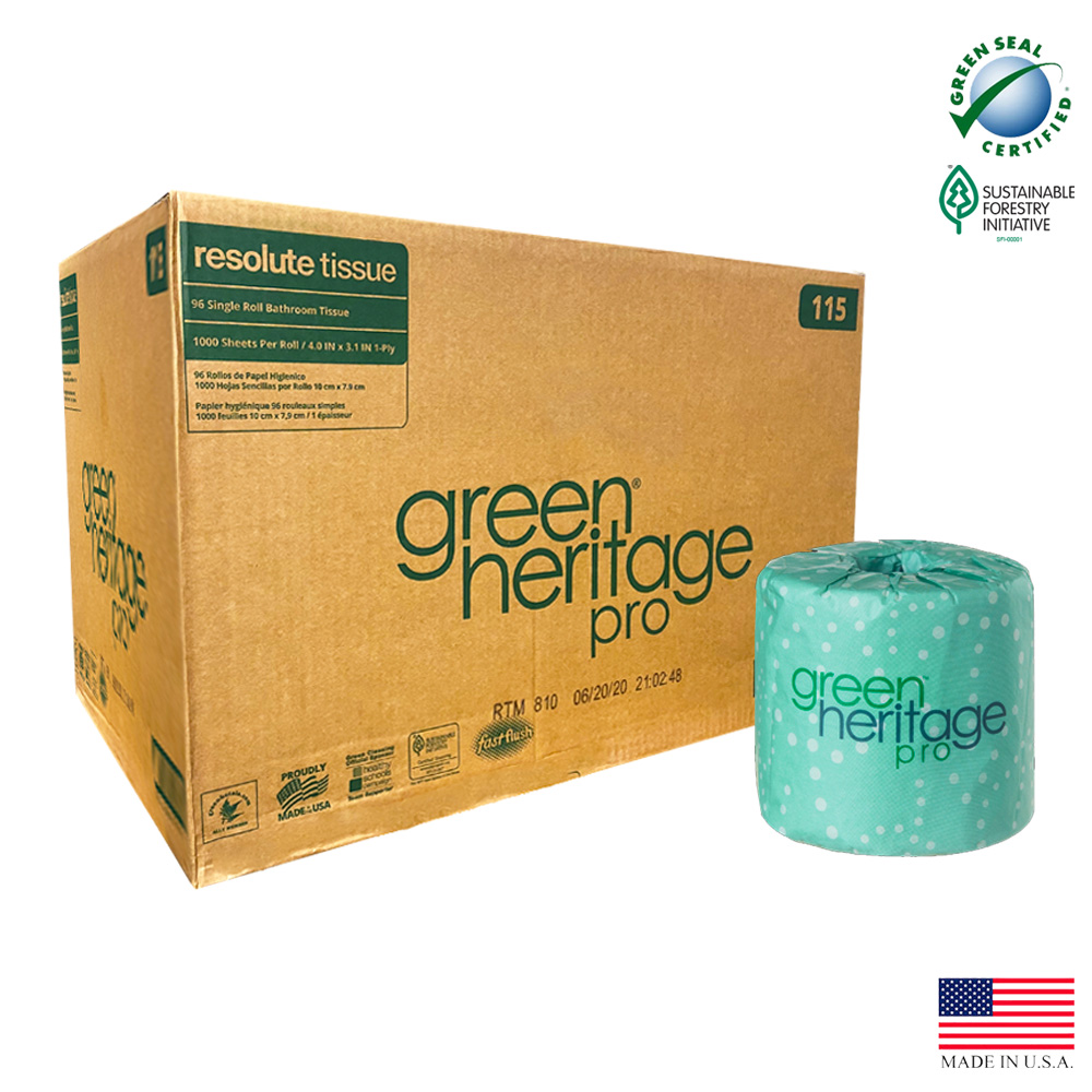 "Atlas Paper White 4""x3"" 1ply 1000 Sheet Green     Heritage Paper Bathroom Tissue 115"