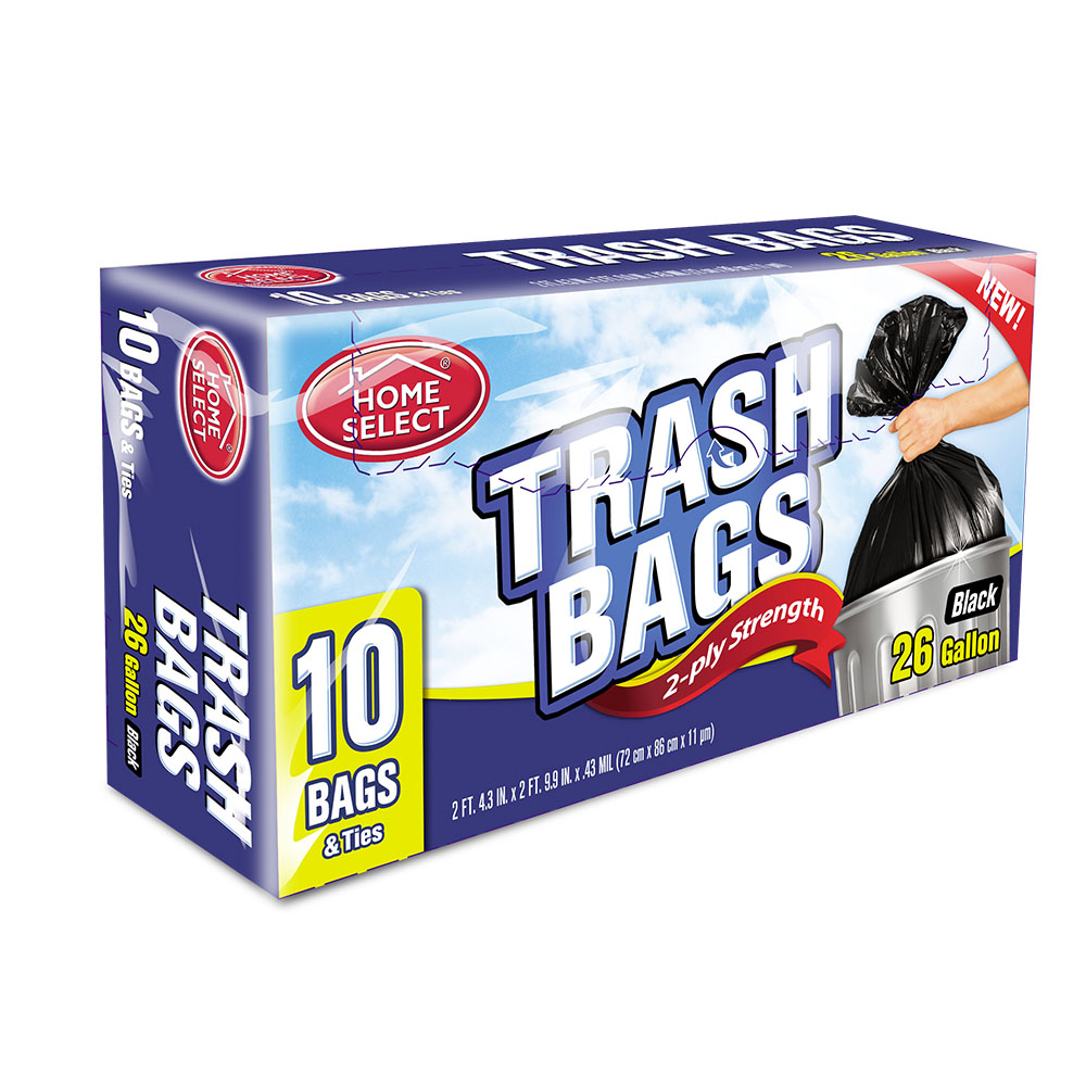 Delta Brands Black 26 Gallon 2ply Strength Trash  Bags With Ties 6024-24