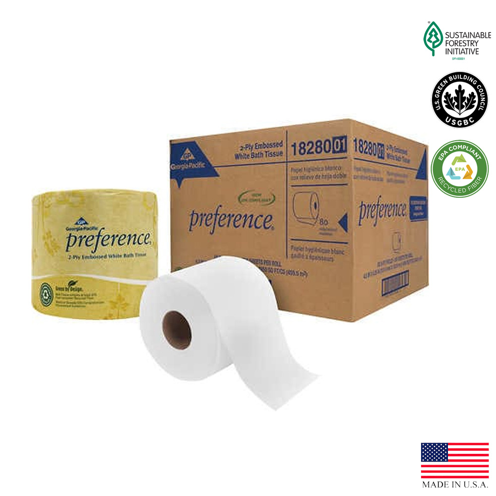 Georgia Pacific - Preference White 4x4 2 ply       550 Sheet Embossed Paper Bathroom Tissue