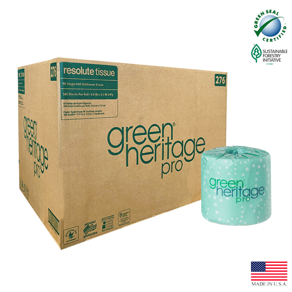 "Atlas Paper White 4""x3"" 2ply 500 Sheets Green     Heritage Paper Bathroom Tissue 276"