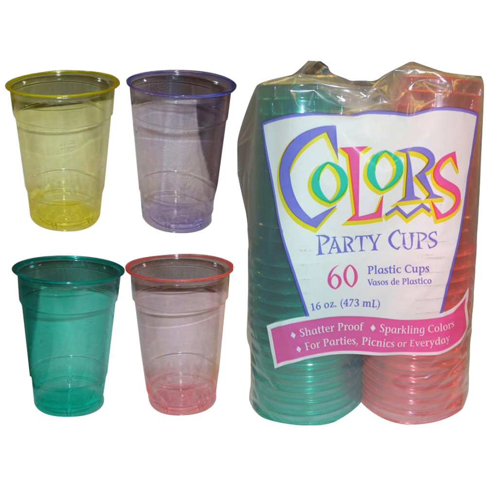 Assorted Colors 16oz Plastic Party Cups CVP1260