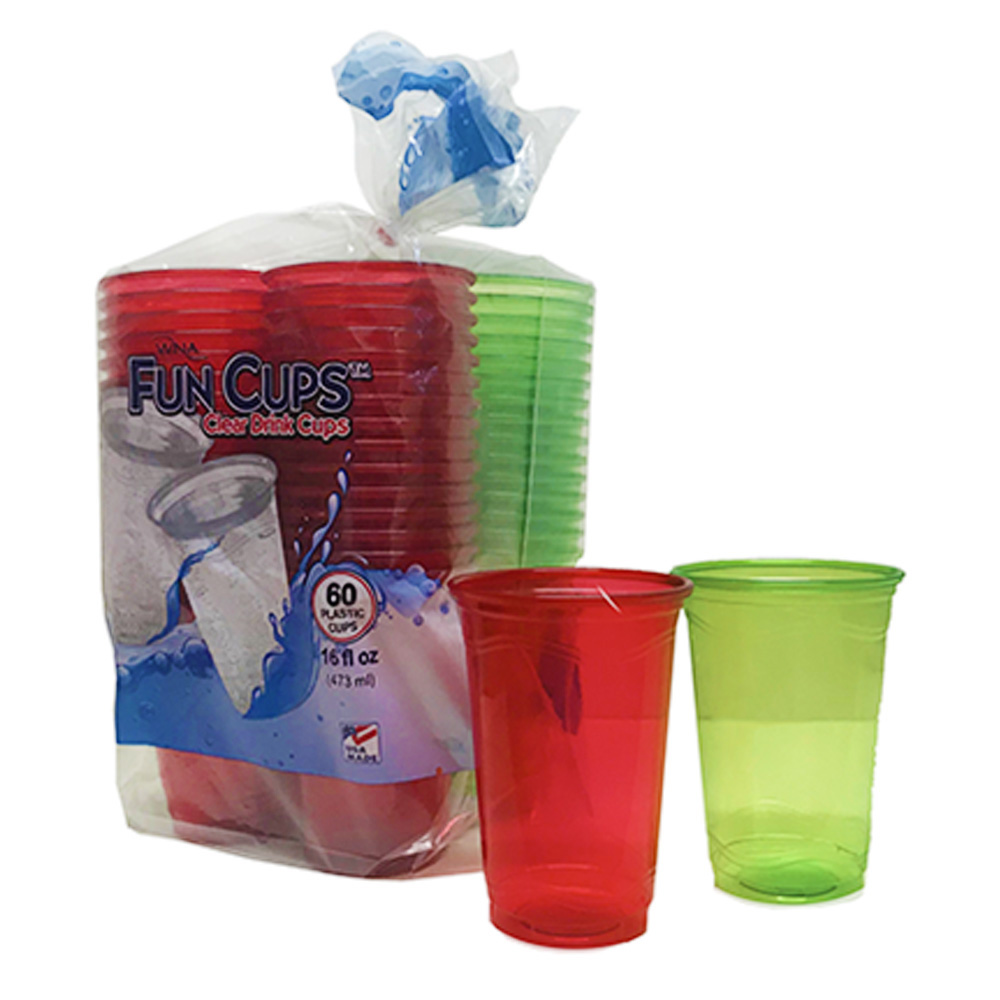 16oz Red & Green Plastic Drink Cups CVP1260R-G