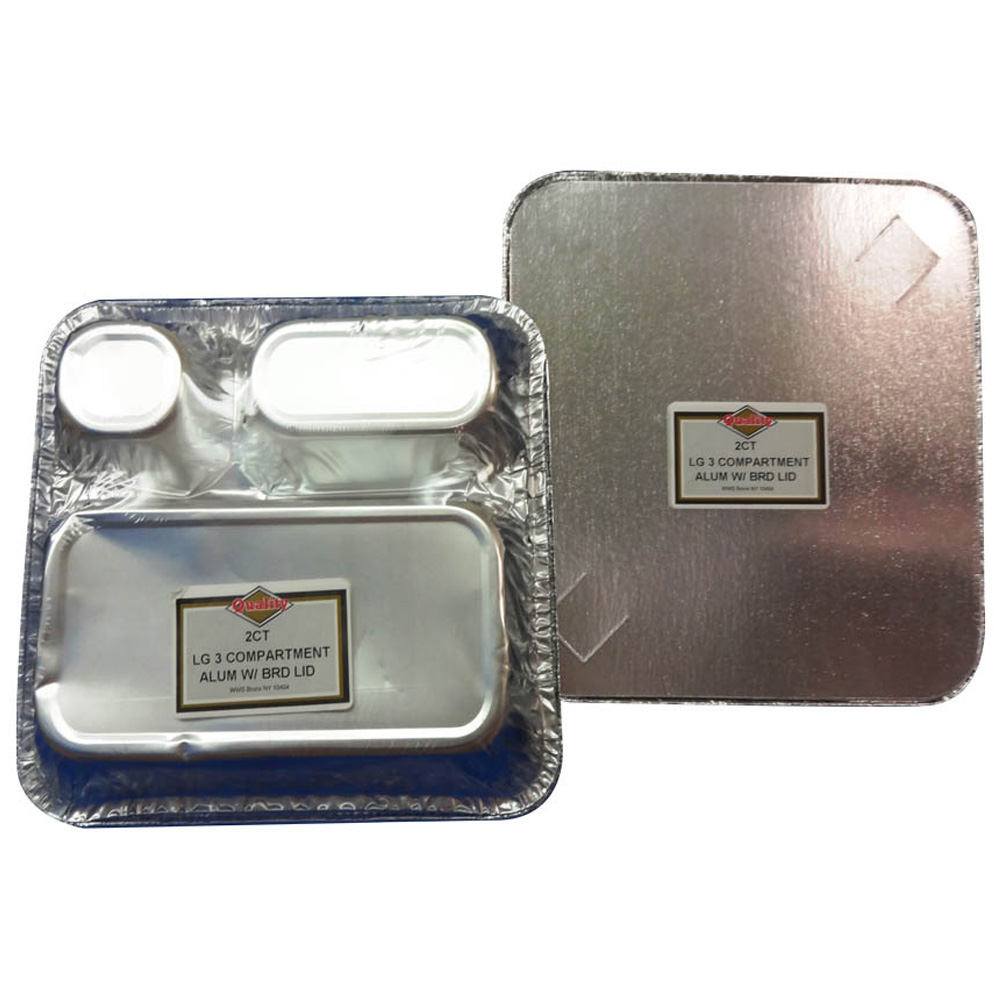 Convenience Packs - Aluminum Large 3 Compartment  Square Tray And Board Lid Combo CVPLG3CALUM
