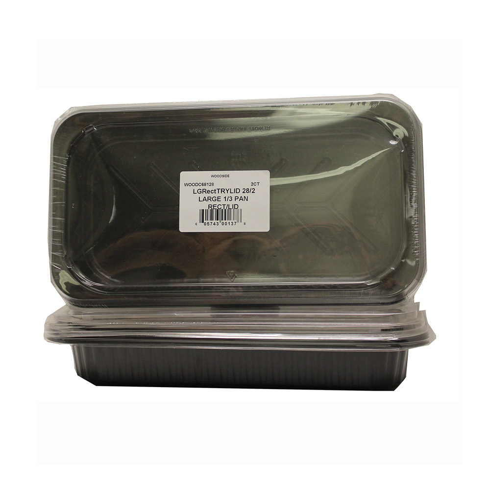 Convenience Packs - Black Large 1/3 Rectangular   Pan And Clear Plastic Lid CVPLGRMCRLID