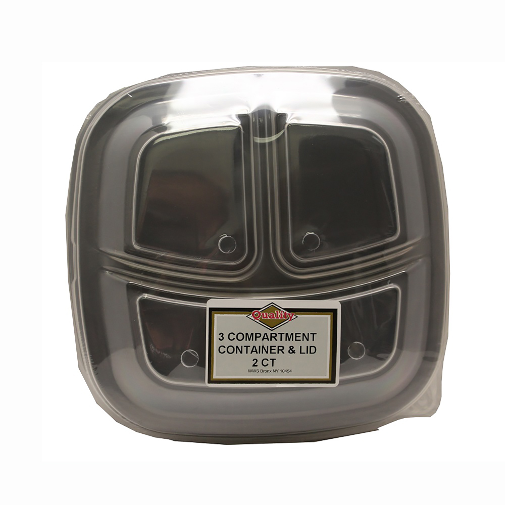 Convenience Packs - Black 3 Compartment Square    Container With Clear Plastic Lid CVP3CMCRO
