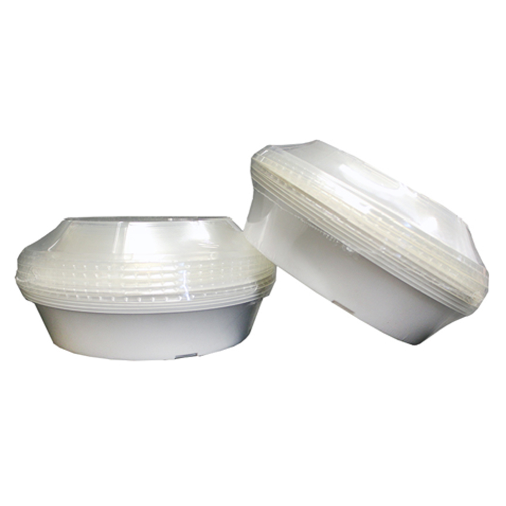 "Convenience Packs - White 7"" Round Plastic StorageContainer With Clear Dome Lid CVP7RDLID"