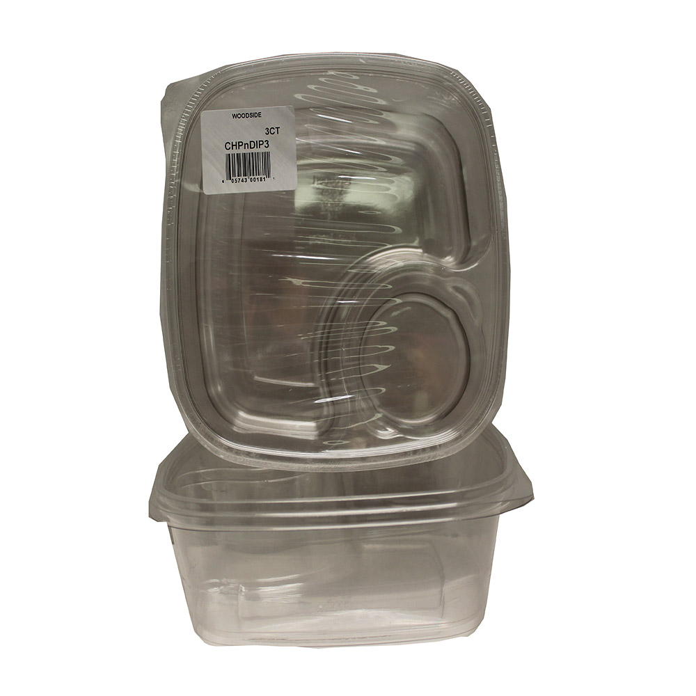 Convenience Packs - Clear 2 Compartment Square    Plastic Chip & Dip Tray CVPCHPNDIP