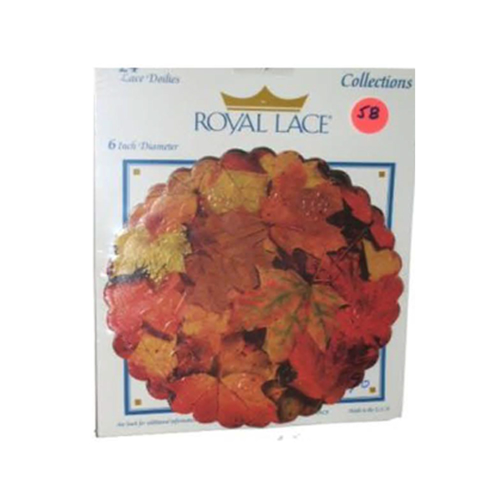 "Printed 6"" Round Paper Leaf Doily B23223"