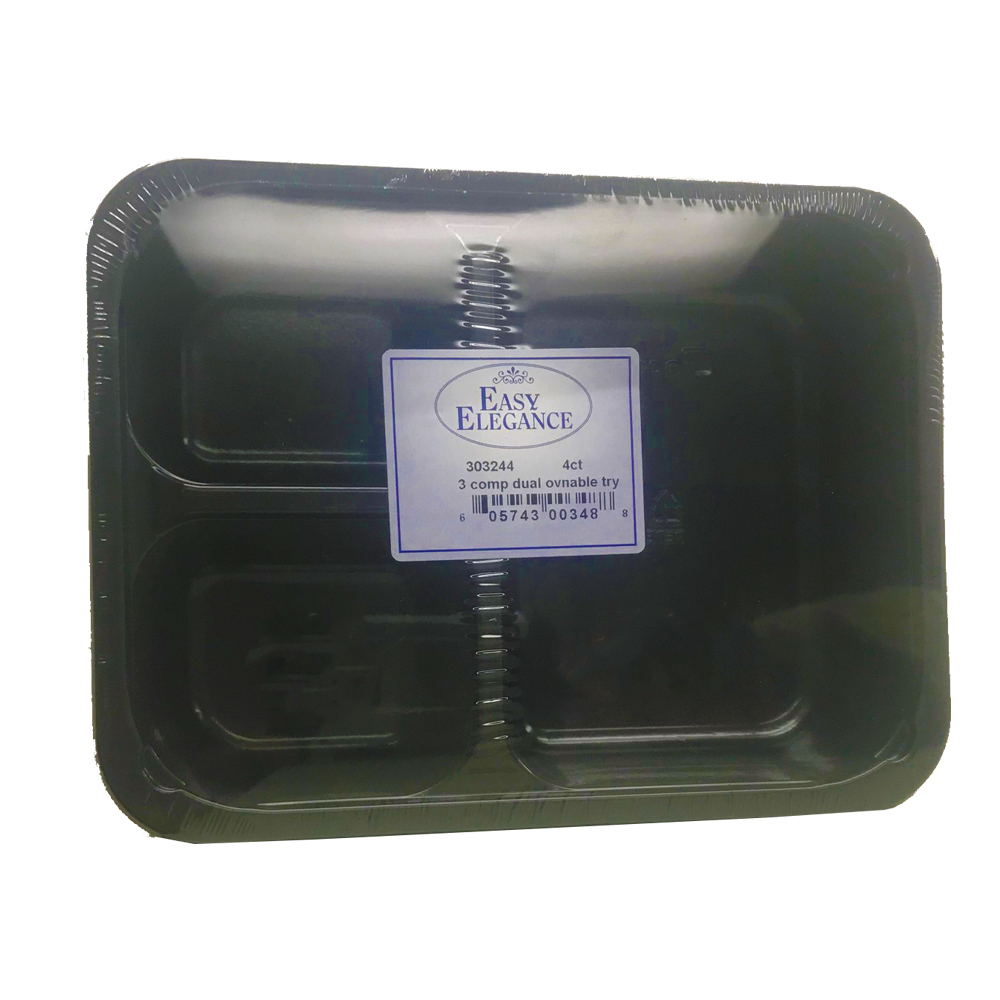 Black 3 Compartment Dual Ovenable Rectangular     Plastic Container and Lid Combo G3473-3