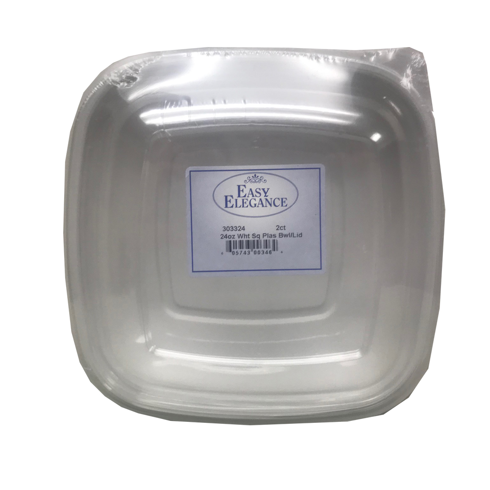 White 24oz Square Plastic Bowl and Lid Combo P48/2