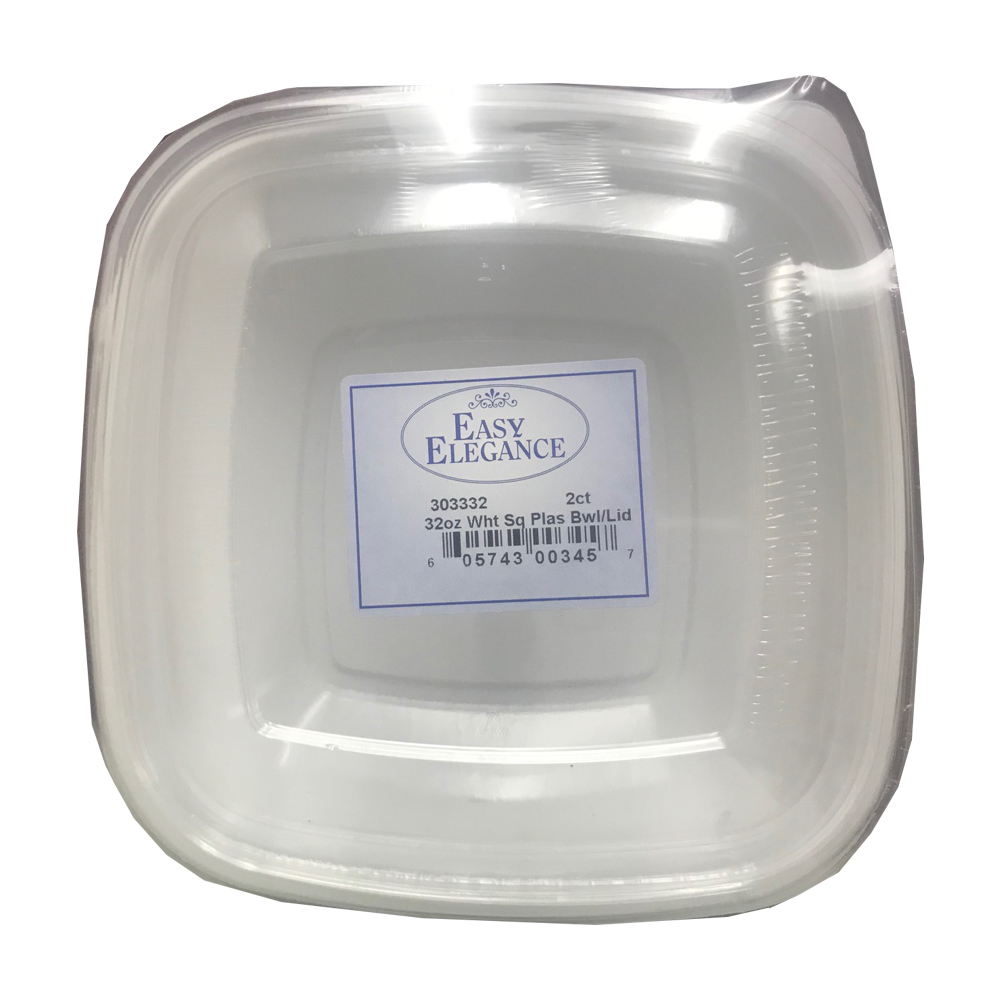 White 32oz Square Plastic Bowl and Lid Combo P36/2