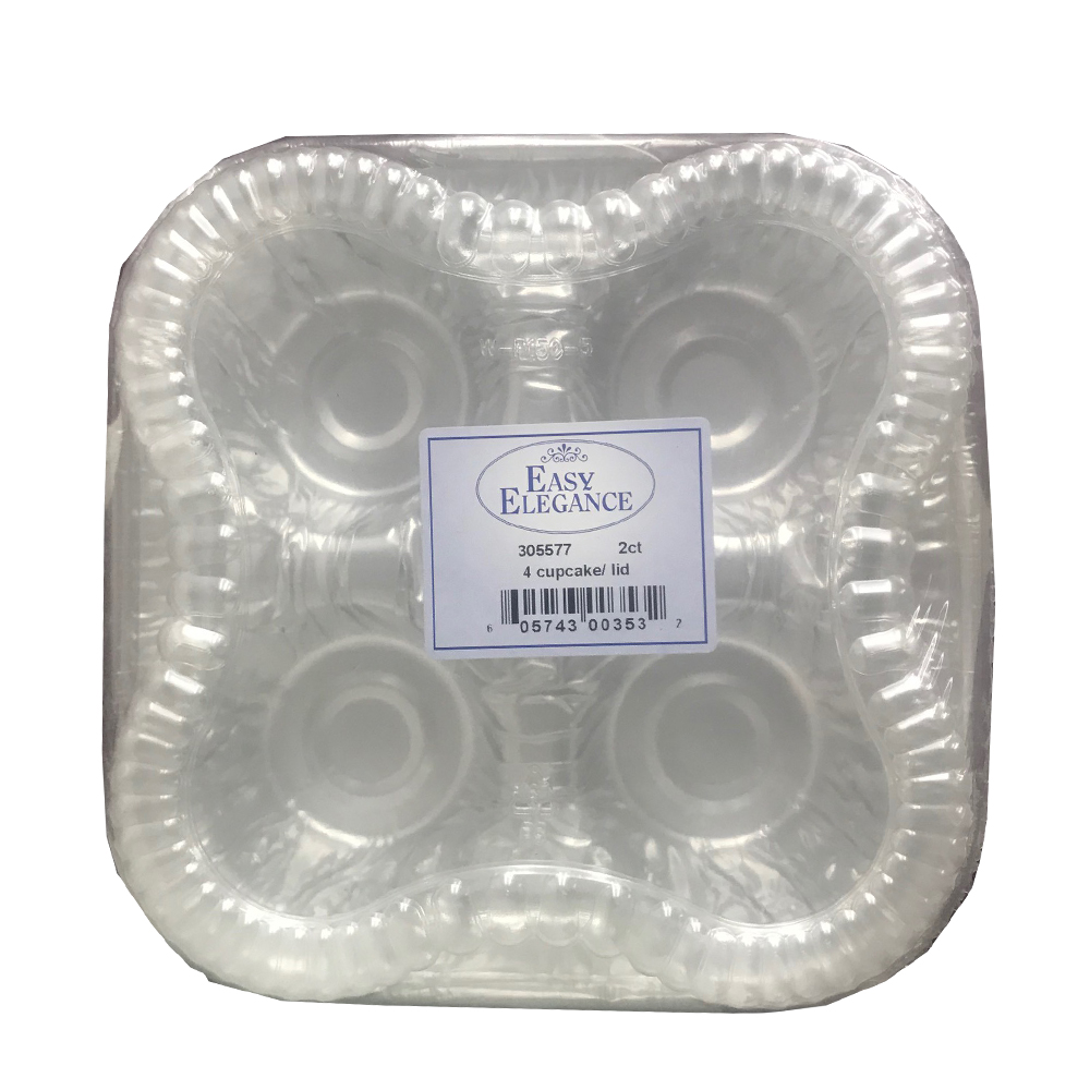 4 Cup Clear Cupcake Square Plastic Container and  Lid Combo P2/1
