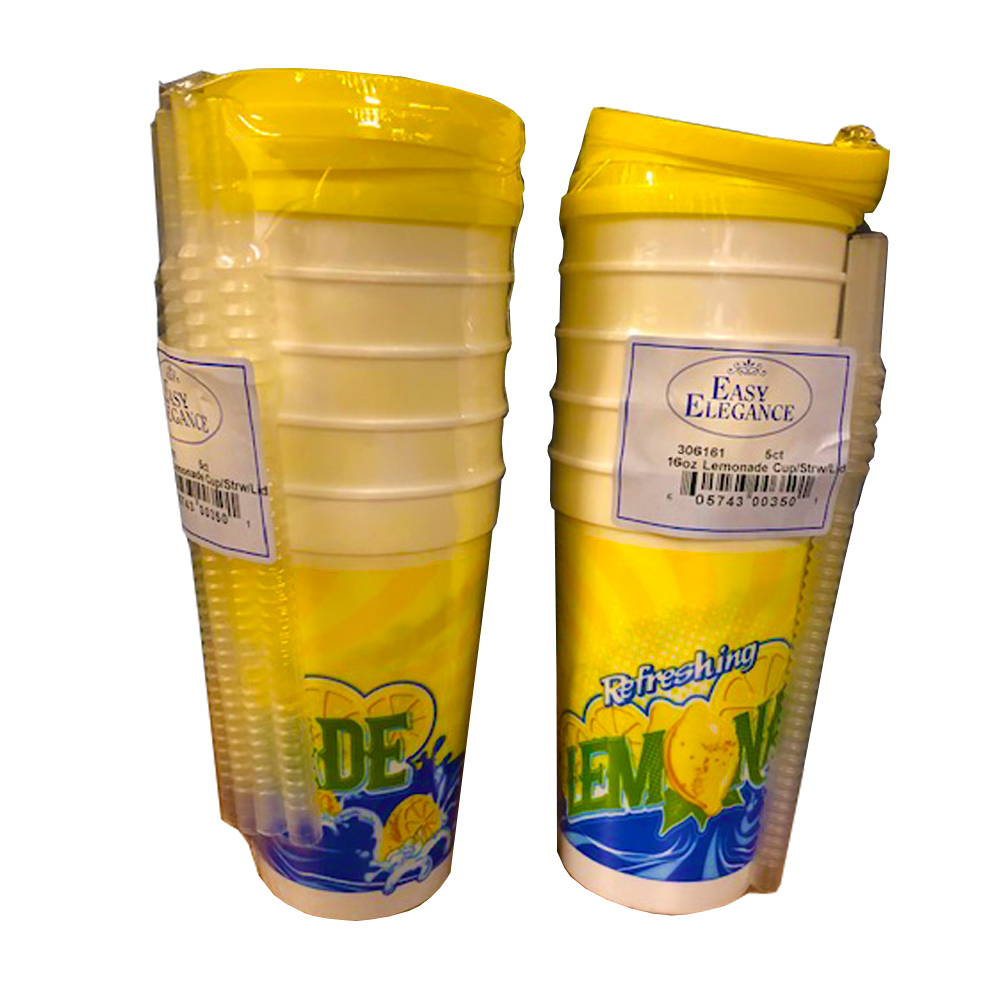 16oz Plastic Lemonade Cup With Straw and Lid ComboP30/5