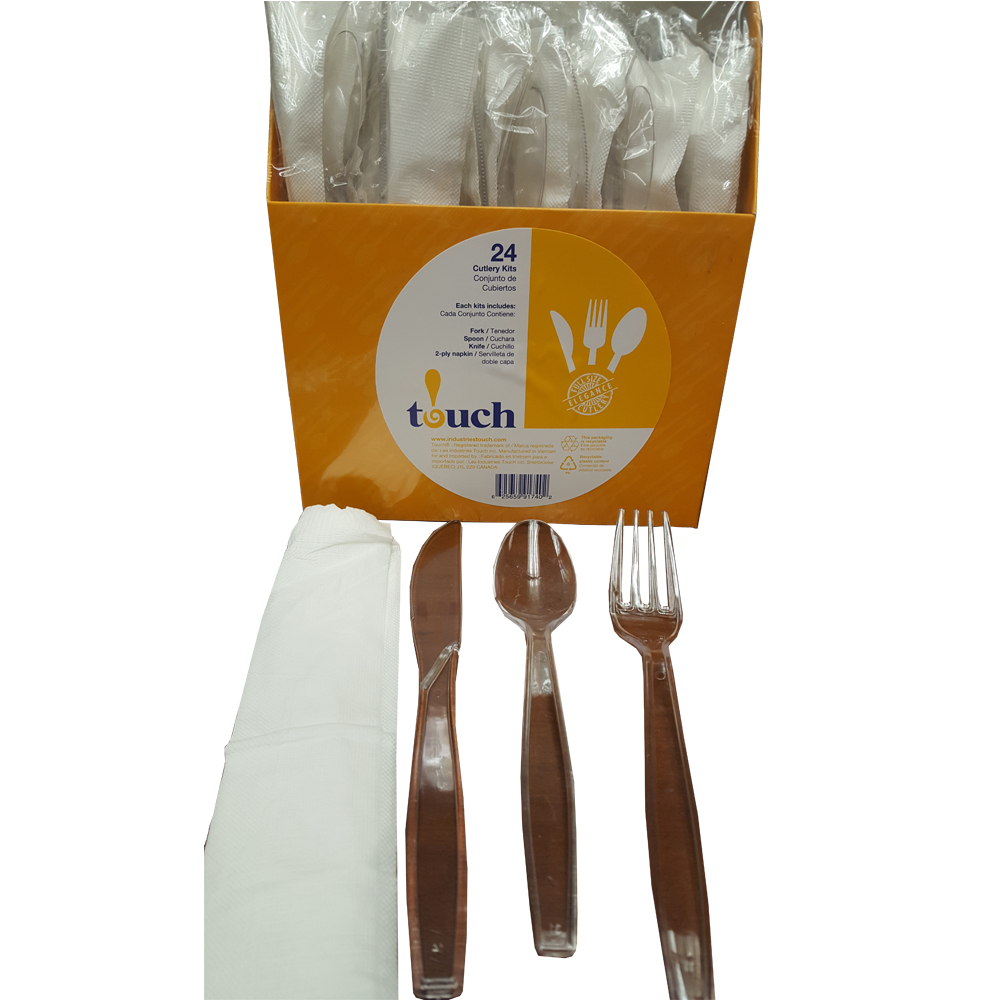 Clear 24 Count 4 Piece Plastic                    Fork/Knife/Spoon/2ply Napkin Cutlery Kit and