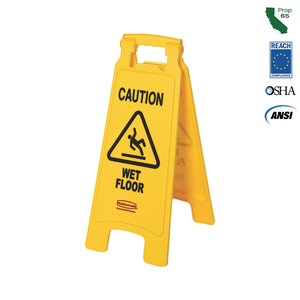 Rubbermaid Commercial - Yellow 2 Sided Caution Wet Floor Sign 611277YEL