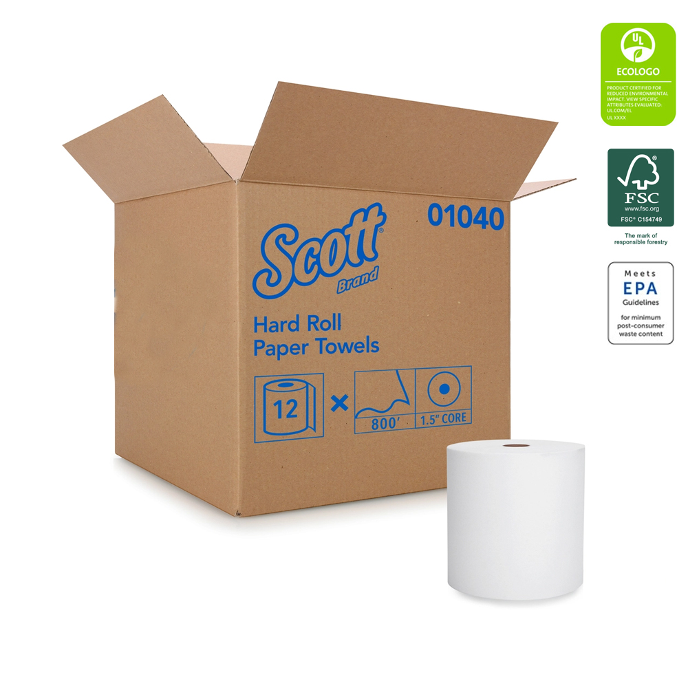 "Kimberly Clark White 8""x800' Scott Hard Roll Towel 01040"