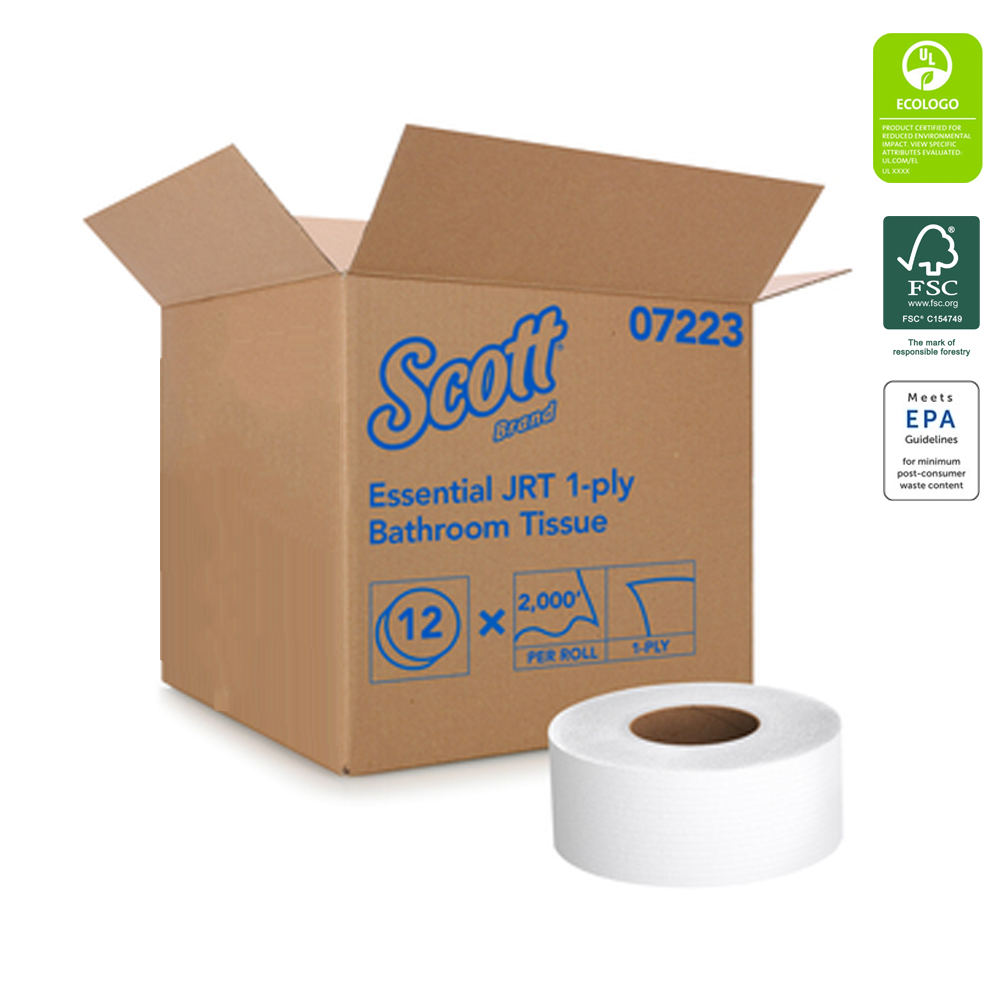 "Kimberly Clark - Scott White 3.55""x2000' 1 ply Junior Jumbo Roll Bathroom Tissue 07223"