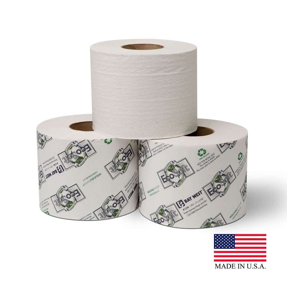 Wausau White 1ply EcoSoft Jumbo Bathroom Tissue 12300