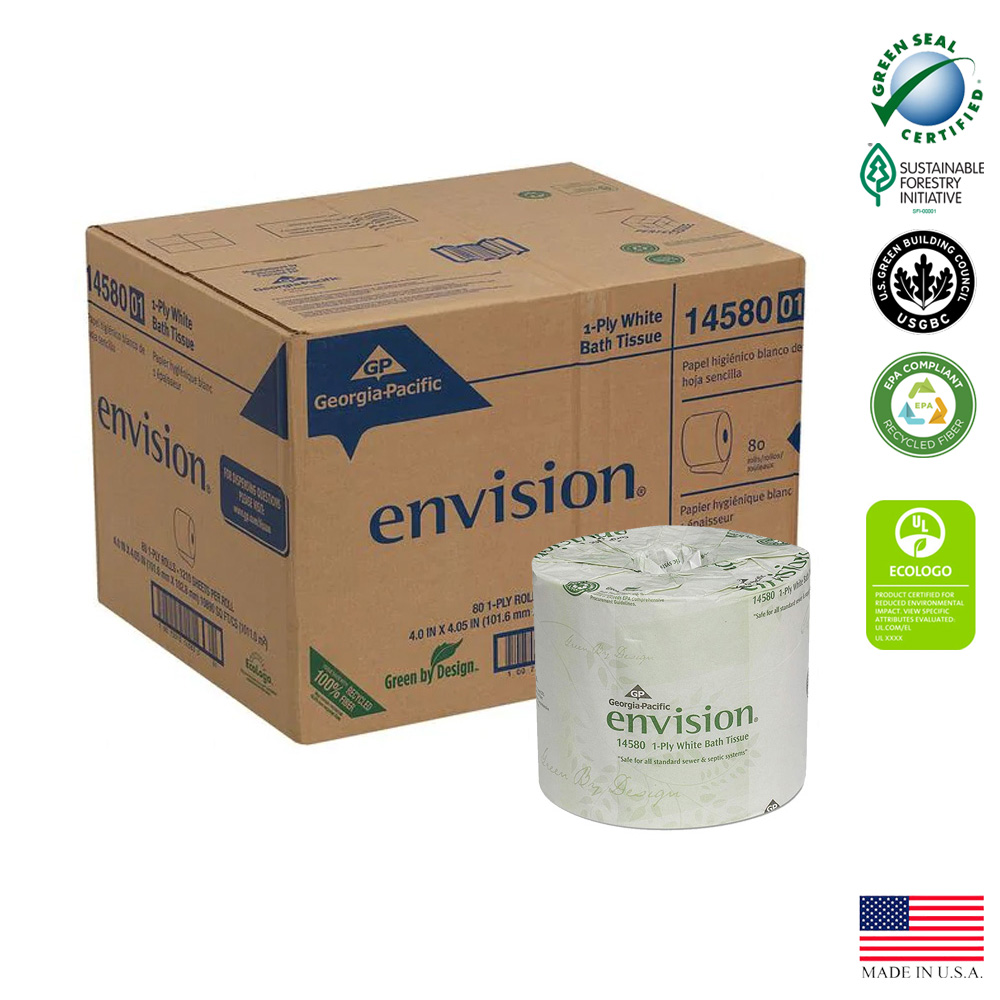 "Georgia Pacific - Envision White 4""x4""  1 ply      1210 Sheet Paper Bathroom Tissue 14580/01"