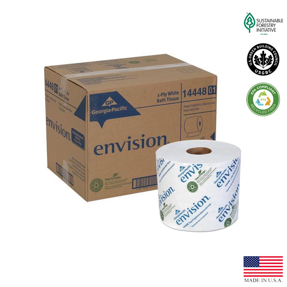 "Georgia Pacific  - Envision White 4""x3.9""          1ply 1500' Bathroom Tissue"