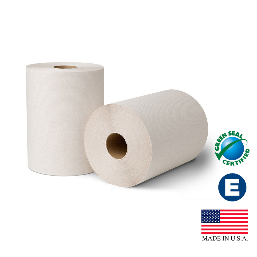 "Essity Professional White 8""x425' EcoSoft Green   Seal Controlled Roll Towel 21400"