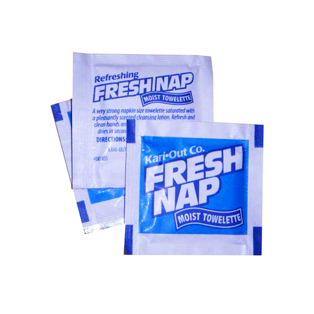 "Kari-Out Co. - Fresh Nap 4.5""x6.25"" Pre-Moistened Lemon Scented Towelette 6700305"