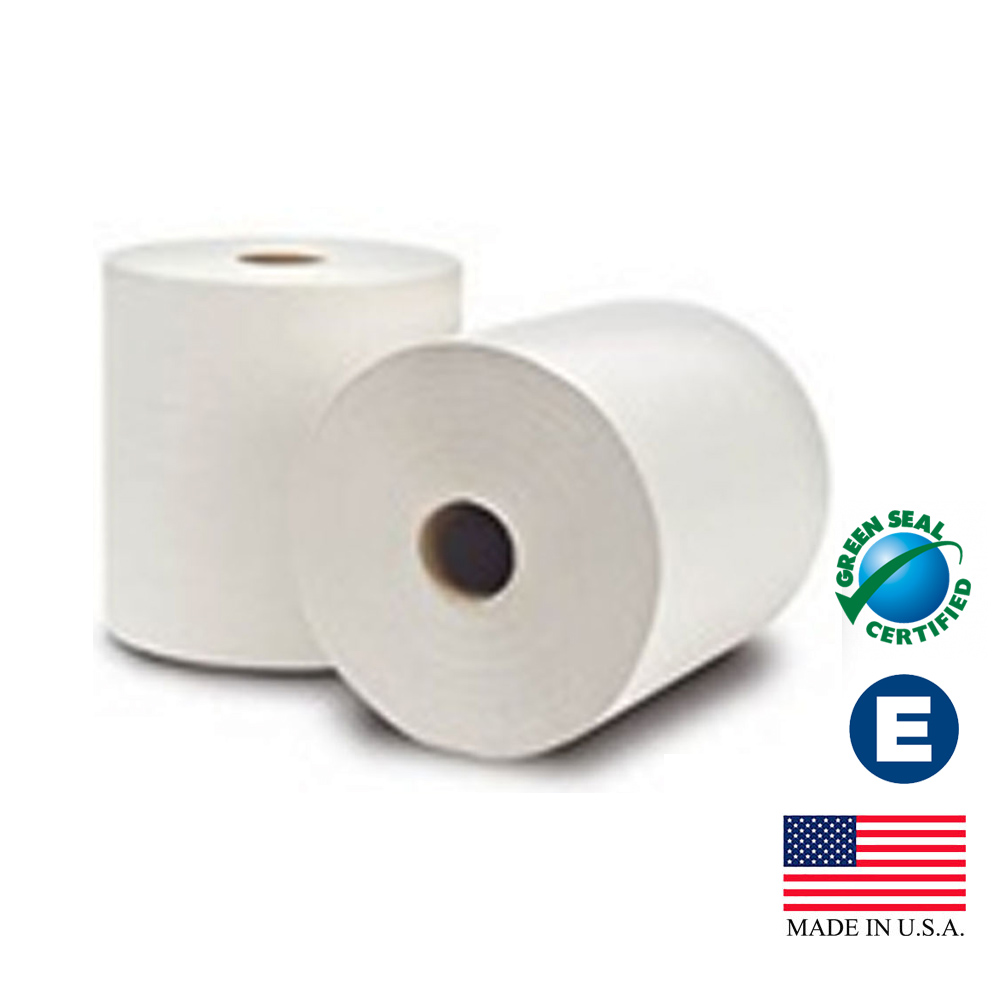 "Essity Professional White 8""x800' EcoSoft Green   Seal Unbleached Roll Towel 31400"
