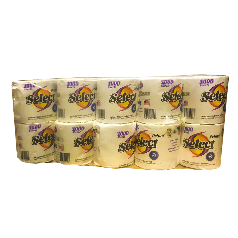 Select Products White 1 ply 1000 Sheet Prime      Bathroom Tissue 00471