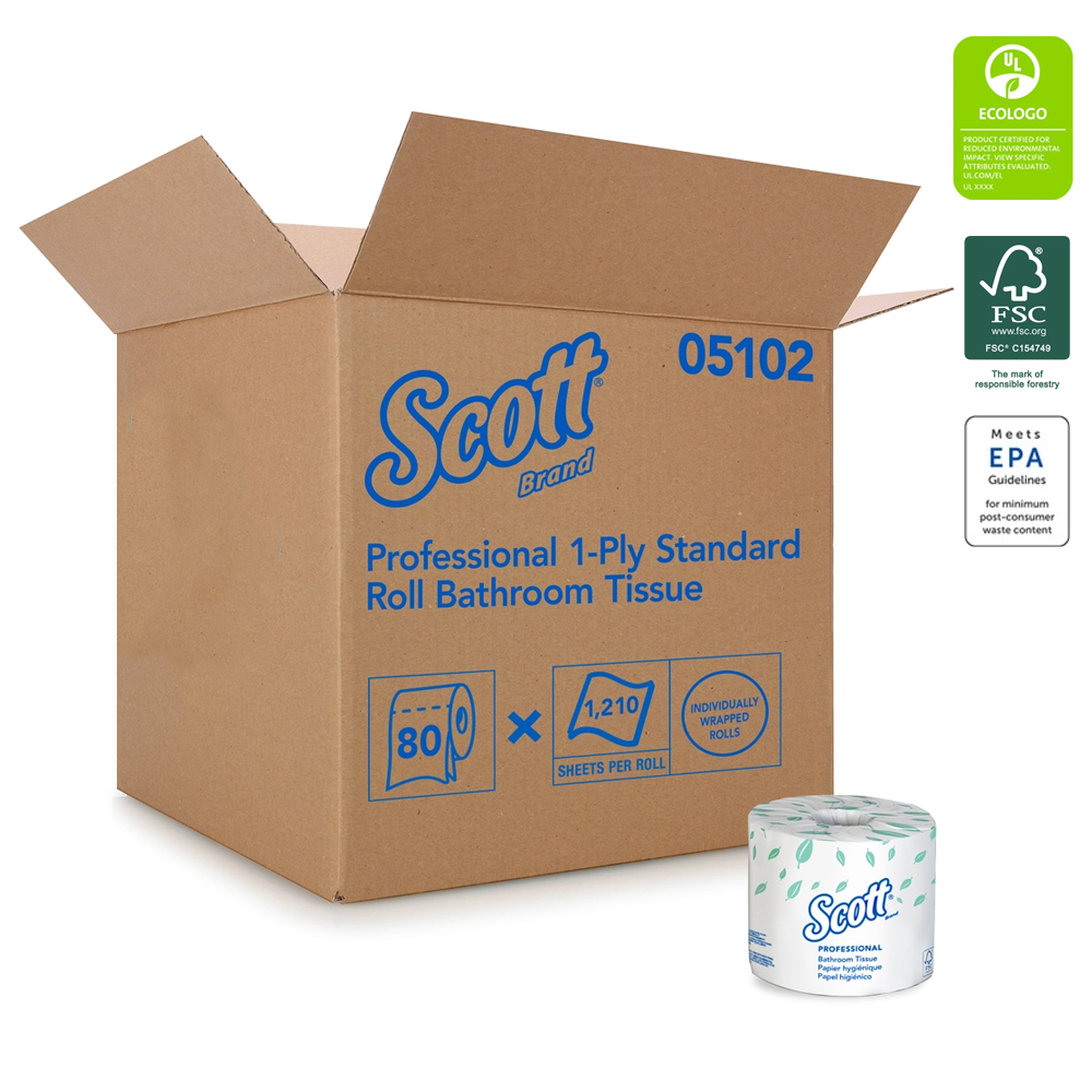 "Kimberly Clark - Scott White 4""x4.1"" 1 ply 1210 Sheet Bathroom Tissue 05102    80/cs"