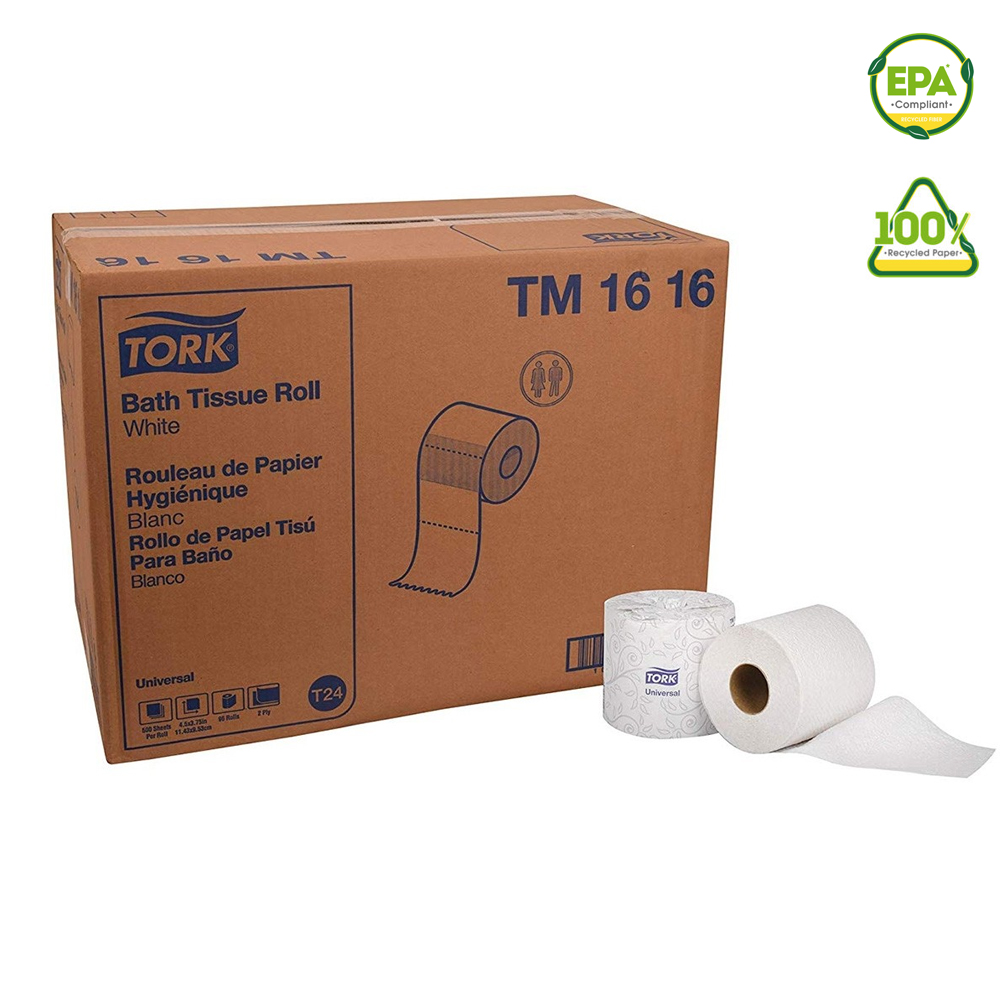 "Essity Professional White 4""x3.75"" Tork Universal Bathroom Tissue Roll TM1616"