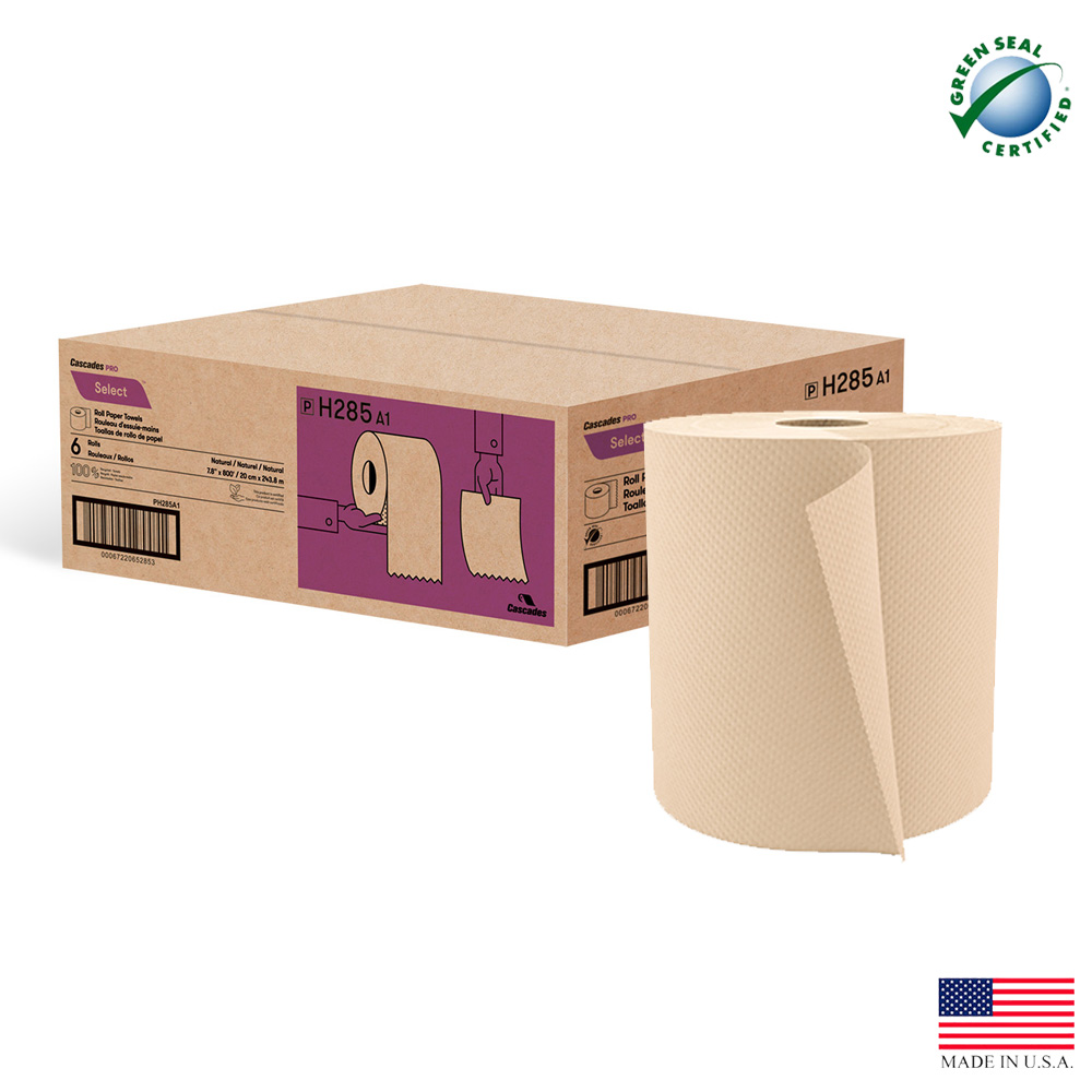 "Cascades Tissue Grp. - Decor Natural 8""x800' Roll Paper Towel H285"