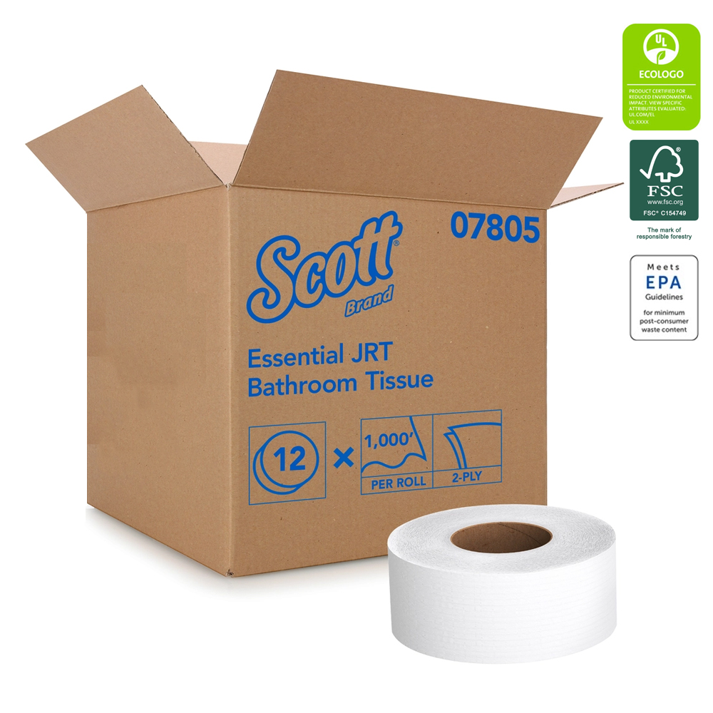 "Kimberly Clark - Scott White 9""x1000' 2 ply JuniorJumbo Roll Bathroom Tissue 07805"
