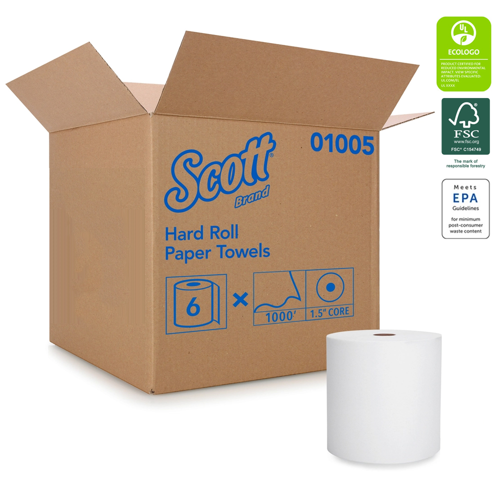 Kimberly Clark White 1000' Scott Hard Roll Towel 01005